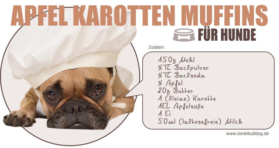 Rezept Apfel Karotten Muffins für Hunde selbst backen Hundekuchen Backen für Hunde Apfel karotte