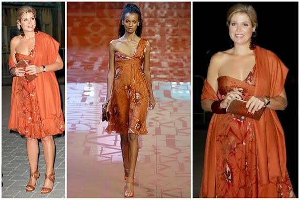 Dutch Queen Maxima wears Valentino one shoulder open dress in brown