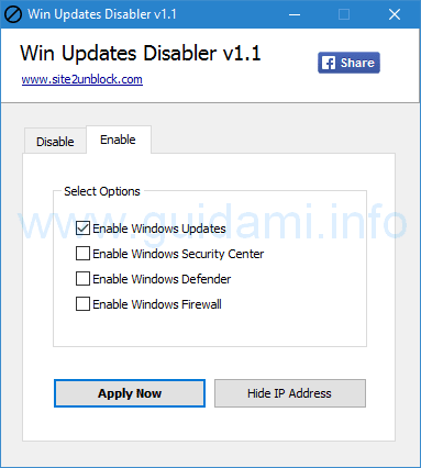 Win Updates Disabler attivare aggiornamenti Windows