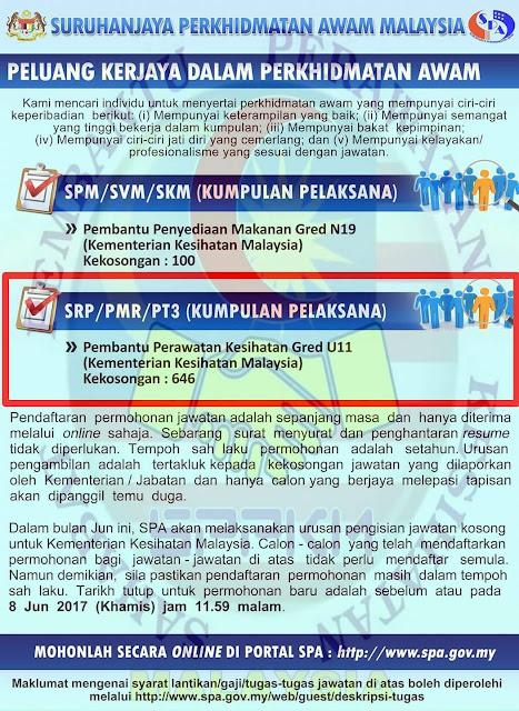 646 Kekosongan Jawatan Pembantu Perawatan Kesihatan Gred U11