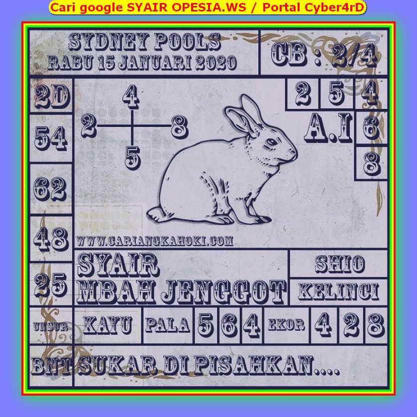 Kode syair Sydney Rabu 15 Januari 2020 89