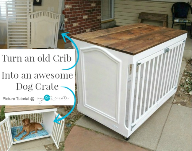 Turn an old Crib into an awesome Dog Crate with this full picture tutorial from MyLove2Create!