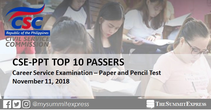 TOP 10 PASSERS: November 2018 Civil Service Exam CSE-PPT result