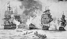 The Battle of the Nile from Horatio Nelson and   the Naval Supremacy of England by W Clark (1890)