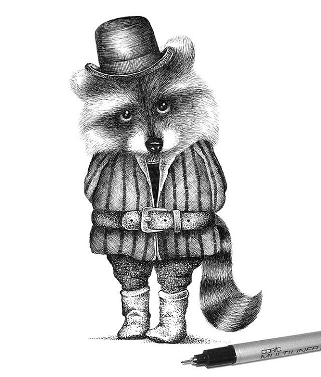 14-Mister-Raccoon-Thiago-Bianchini-Eclectic-Collection-of-Drawings-and-Illustrations-www-designstack-co