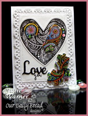 Our Daily Bread Designs, Boho Love, Boho Paisely Background, Ornate Heart dies, Flourished Star Pattern die, Layered Lacey Squares dies, designed by Julie Warner