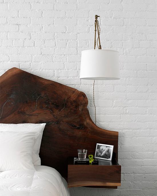 Wood slab headboard | Design by  SchappacherWhite, photo by Jason Lindberg.