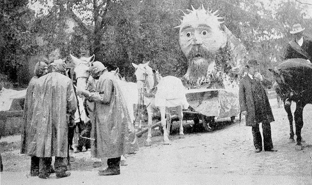 a photograph of devils and a parade float in an 1895