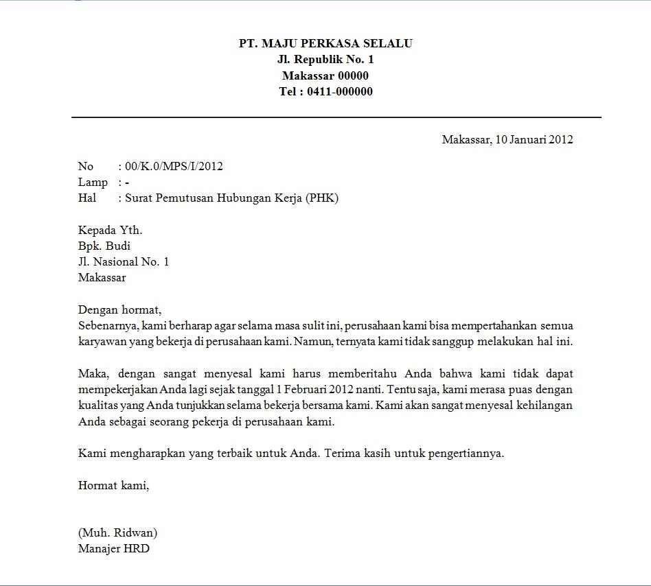 Surat Resign Karyawan Outsourcing Surat Kerja H