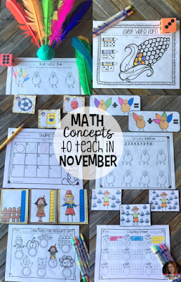Are you wondering what math concepts you should teach in your kindergarten classroom in November?  Check out this post to see what I teach!