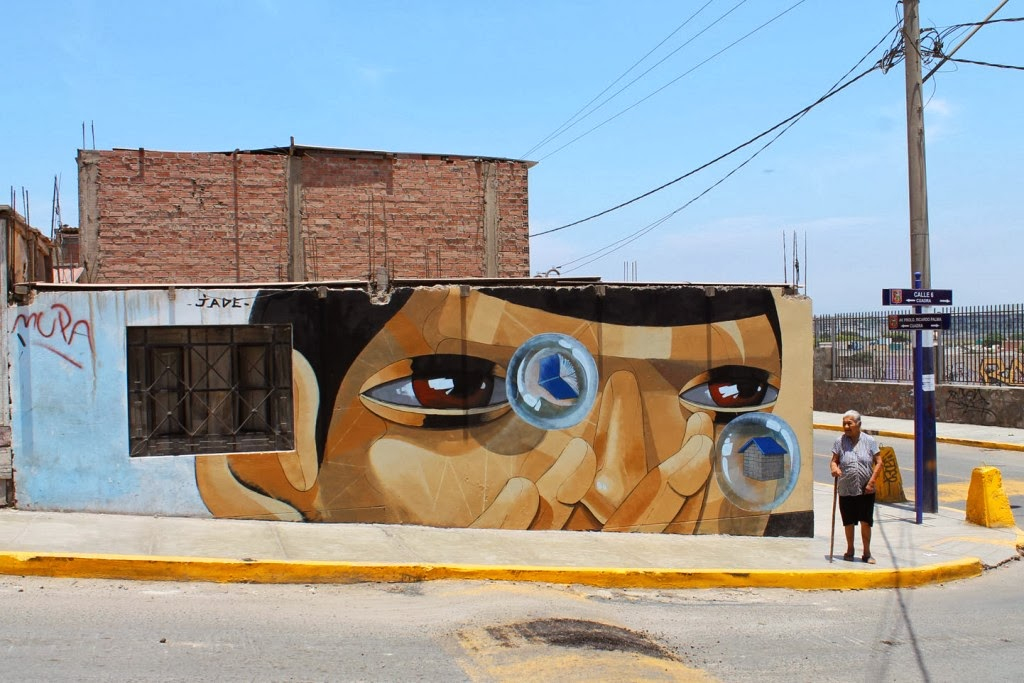 """""""Bubble Blower"""" a new street art mural by JADE on the streets of Lima, Peru. 1"""