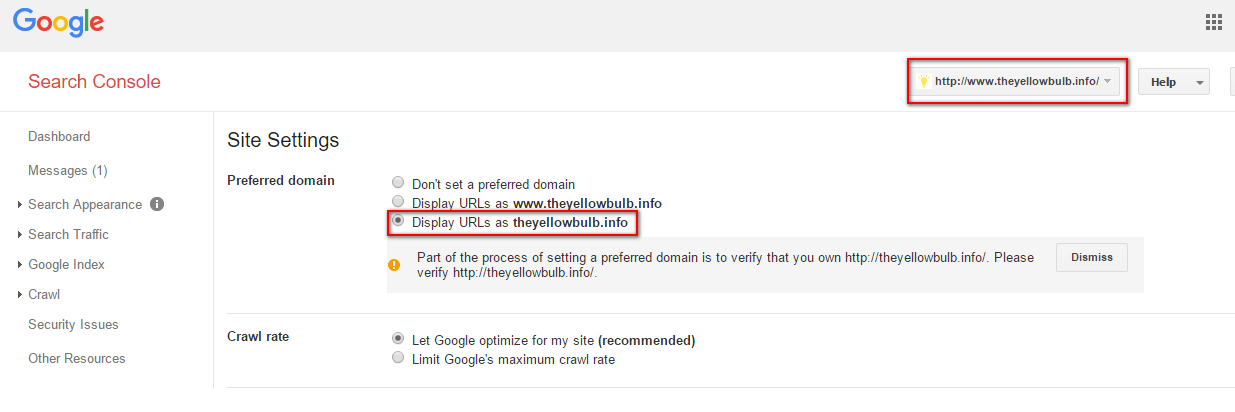 Google search console Test the domains