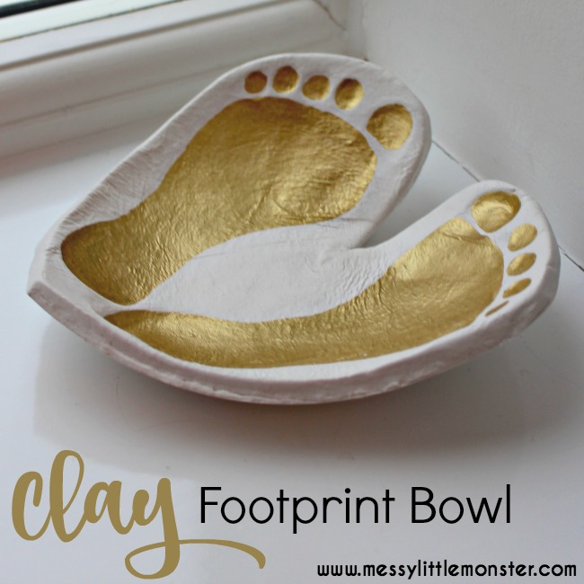 Clay craft ideas for kids. Footprint bowl keepsake made from air drying clay.