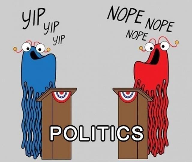 Funny Politics Cartoon Image Yip Yip Nope Nope