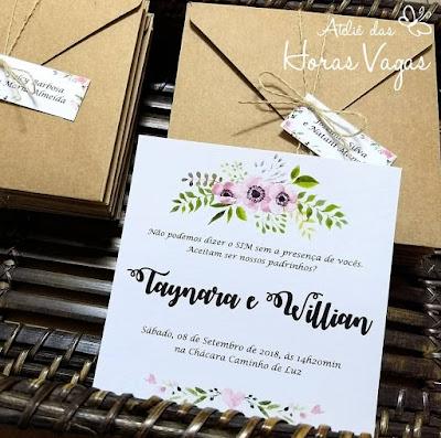 convite de casamento artesanal personalizado rústico estampa floral aquarelada boho chic envelope papel kraft especial para padrinhos