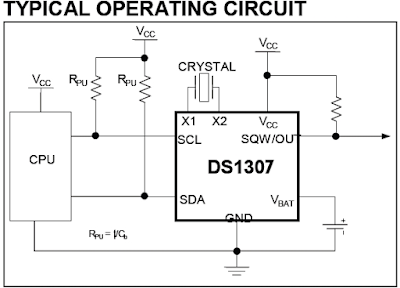 DS1307 real time clock RTC circuit PIC16F84A