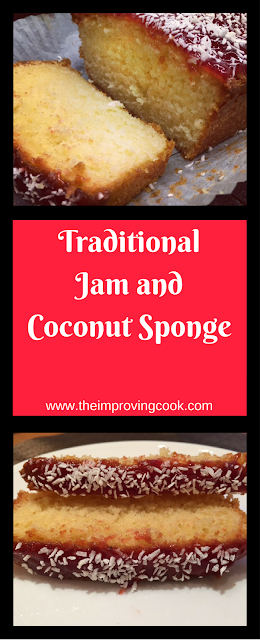 The Improving Cook- Traditional Jam and Coconut Sponge pinnable image