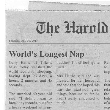Funny World's Longest Nap News Clipping Picture