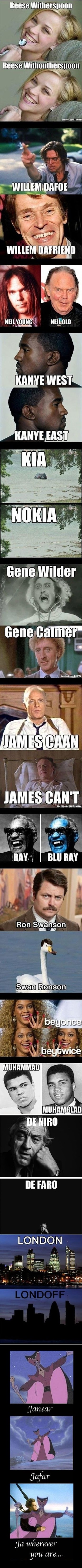 Funny celebrity pun photo strip pictures