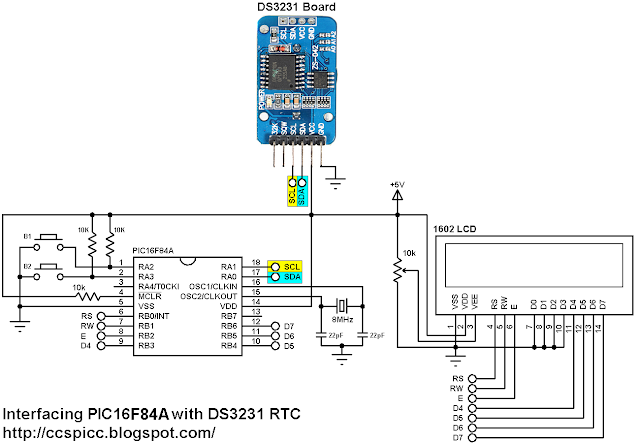 Interfacing PIC16F84A with DS3231 real time clock-calendar circuit