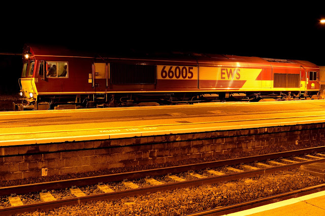 Diesel Locomotive Class 66005 waits for green light as it stands on Wellingborough Station's freight line 2016