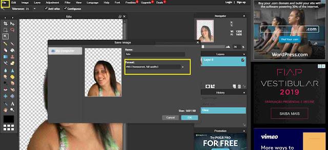Whatsapp: Salvando uma imagem do Photoshop online.