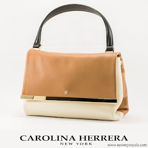 Queen Letizia carried Carolina Herrera Authentic NWT and Authenticity Card Camelot Collection Handbag