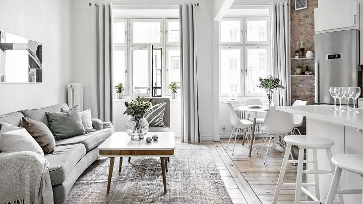 decoración apartamento para alquilar en tonos neutros y luminoso