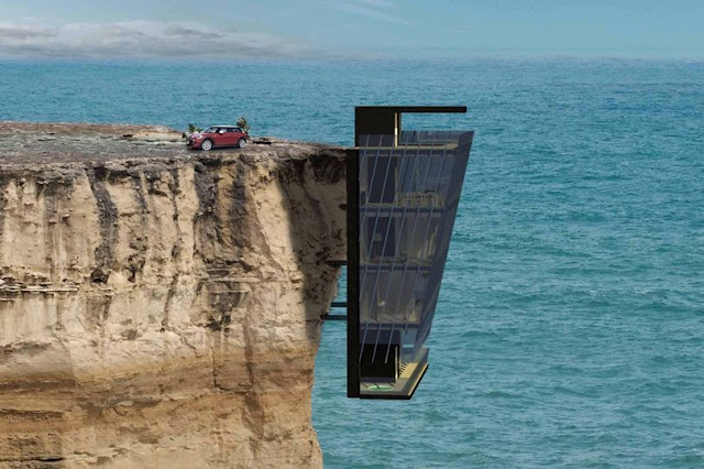 The luxury home will be pinned to the side of a cliff