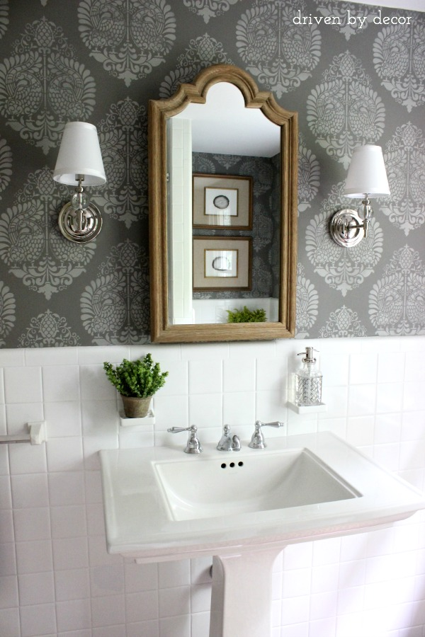 gray stenciled wall