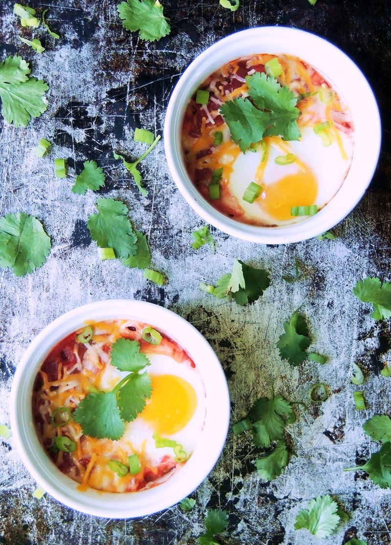 Baked Eggs with Salsa from www.bobbiskozykitchen.com