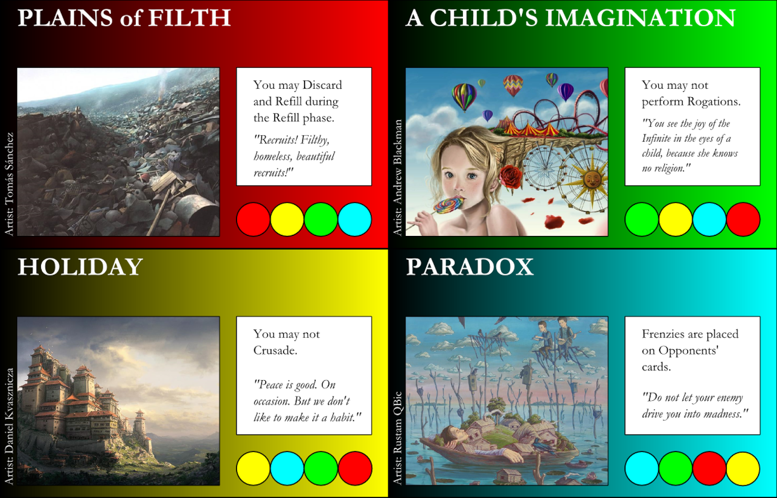 Plains of Filth, A Child's Imagination, Holiday, Paradox
