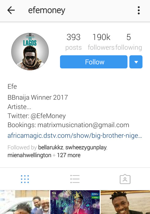 They're saying that BBNaija winner Efe is no longer humble after he unfollowed everybody on IG