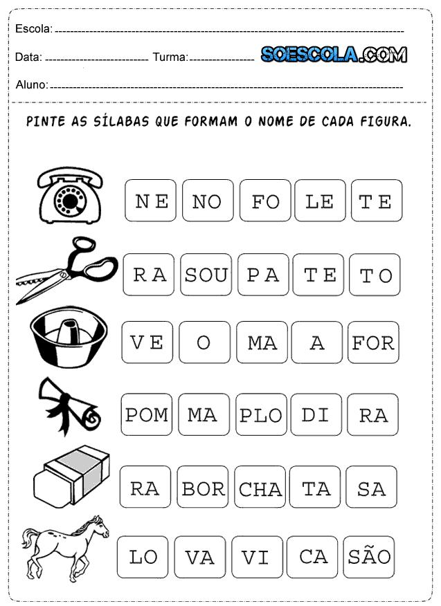 Atividades De Alfabetizacao Para Imprimir 1º Ano So Escola