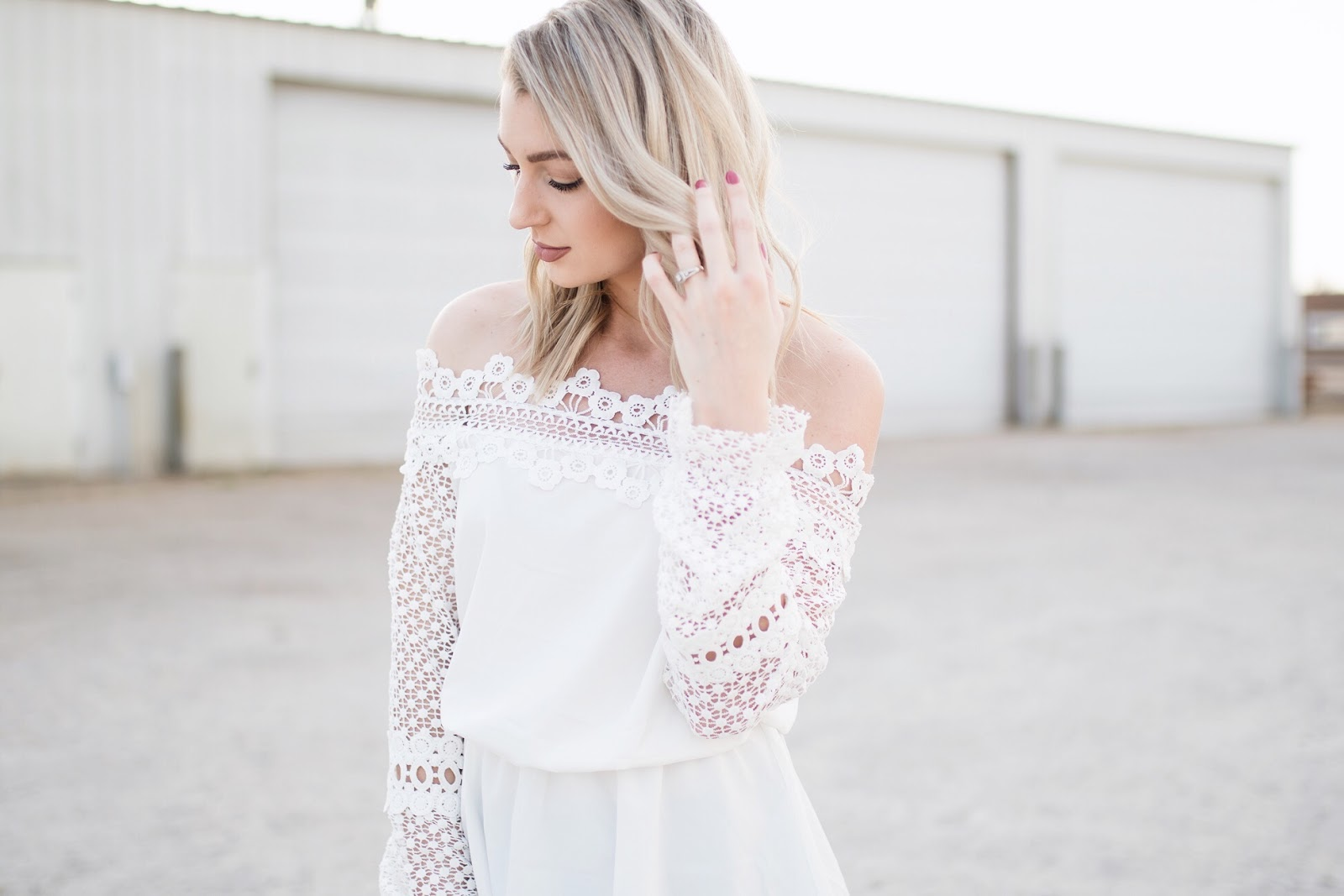 lace off-shoulder top