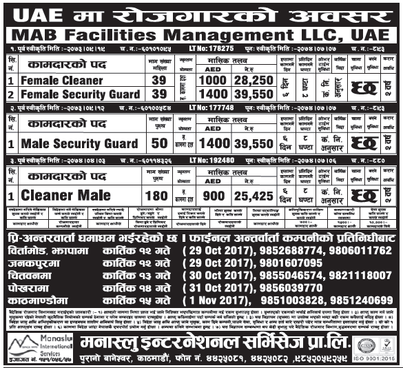Jobs in UAE for Nepali, salary Rs 39,550