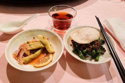 Eggplant and long bean dishes, Szechwan Restaurant Akasaka, Tokyo.