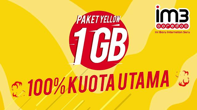 Indosat menyediakan paket yellow dengan 100% kuota utama, tanpa dibagi-bagi