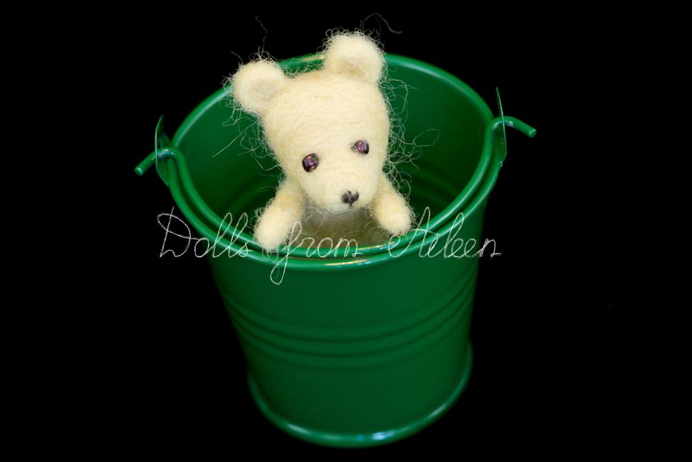 OOAK mini needle felted teddy bear hiding in bucket