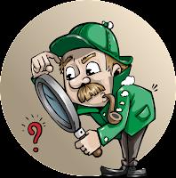 Detetive com lupa analizando ponto de interrogação