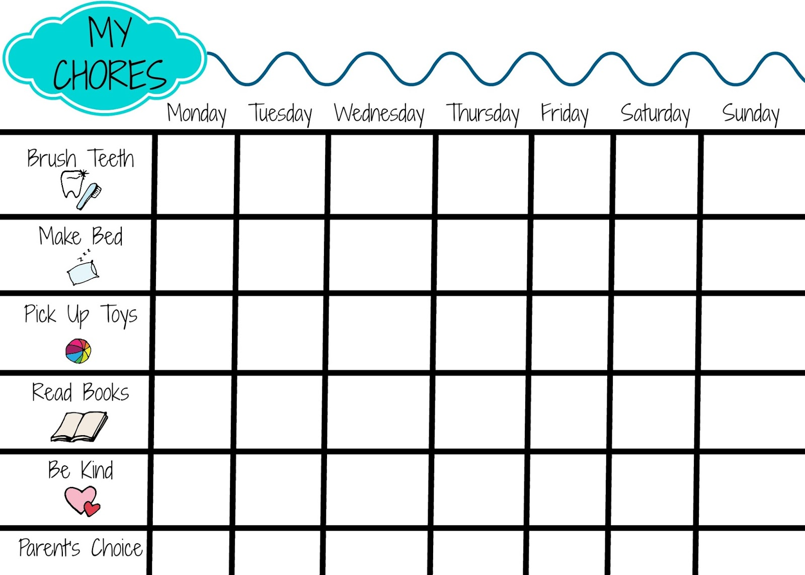 picture regarding Printable Chores Chart named Printable Chore Chart for Youngsters - The Chirping Mothers