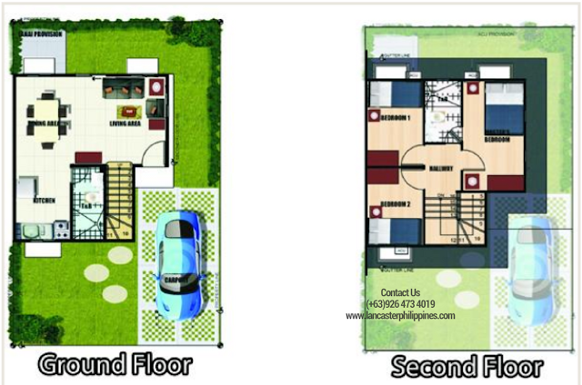 Floor Plan of Margaret - Lancaster New City Cavite | House and Lot for Sale Imus-General Trias Cavite