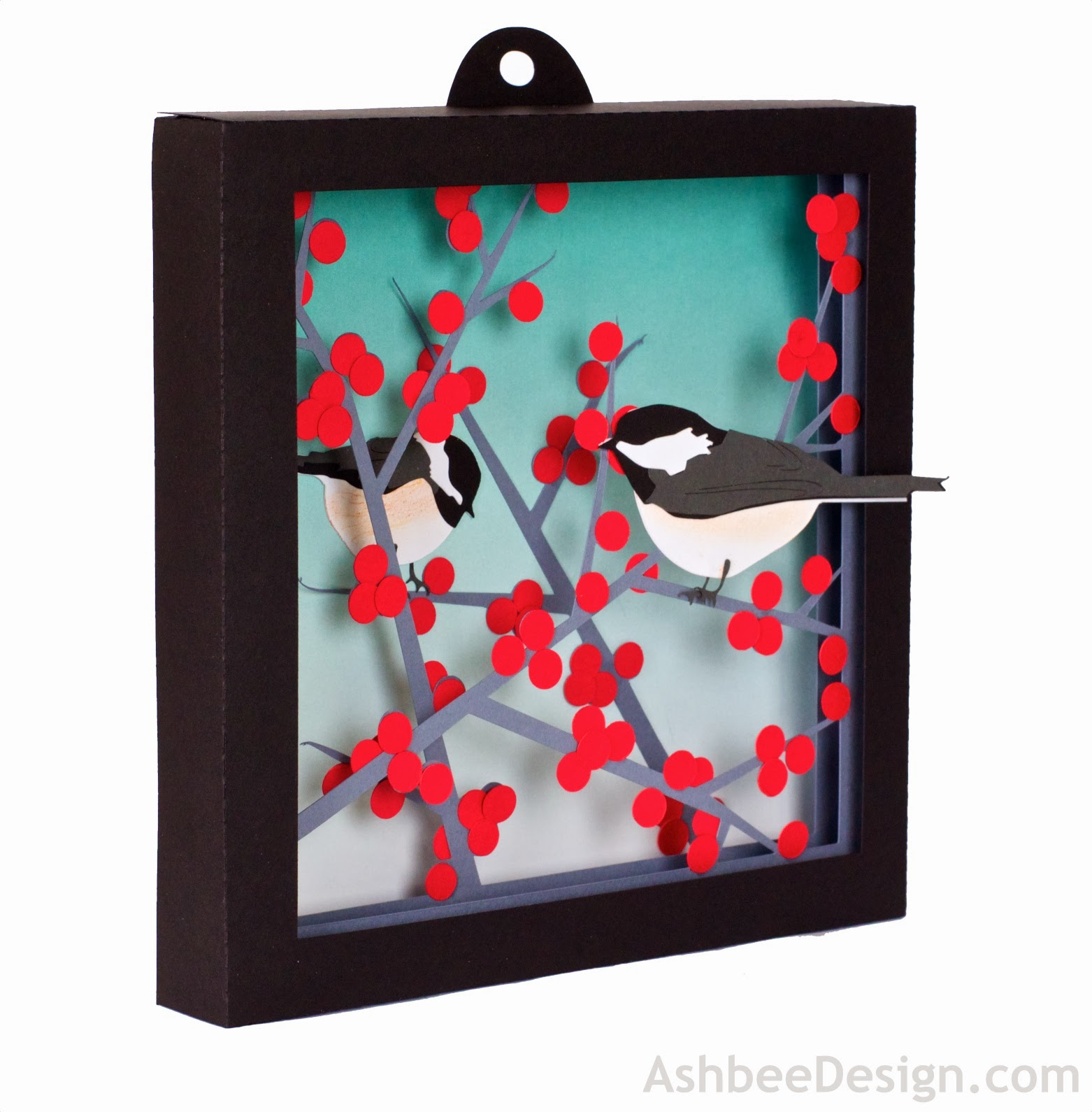Project Description This Shadow Box Is Composed Of  Cut Files Assembled In Layers To Create A Winter Shadow Box Including Two Chickadees Perched In A
