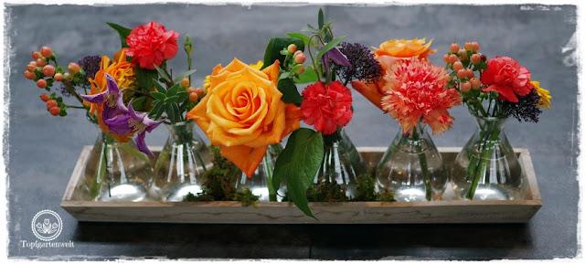 Gartenblog Topfgartenwelt Gartenmesse Stuttgart 2017: Deko Blumengesteck mit Glasvasen