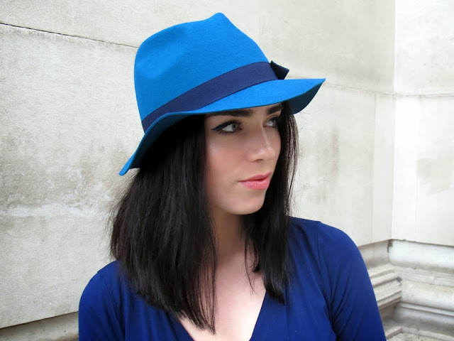 Emma Louise Layla fashion blogger in peacock blue wool Hobbs NW3 hat