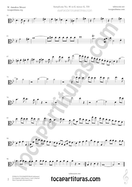 2  Symphony Nº40 by Mozart Sheet Music for Viola Tabs Music Scores