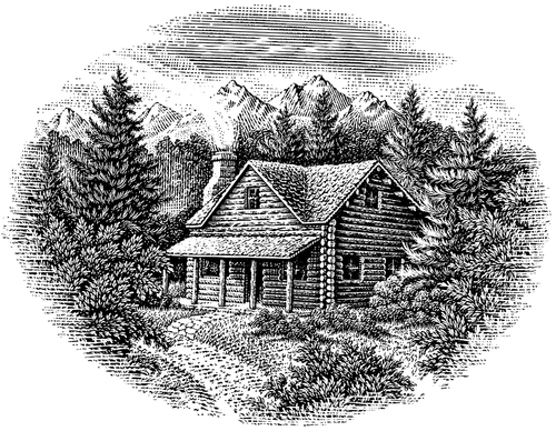 09-Log-Cabin-Michael-Halbert-Scratchboard-Images-of-Animals-and-Architecture-www-designstack-co