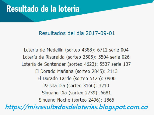 Como jugo la lotería anoche | Resultados diarios de la lotería y el chance | resultados del dia 01-09-2017
