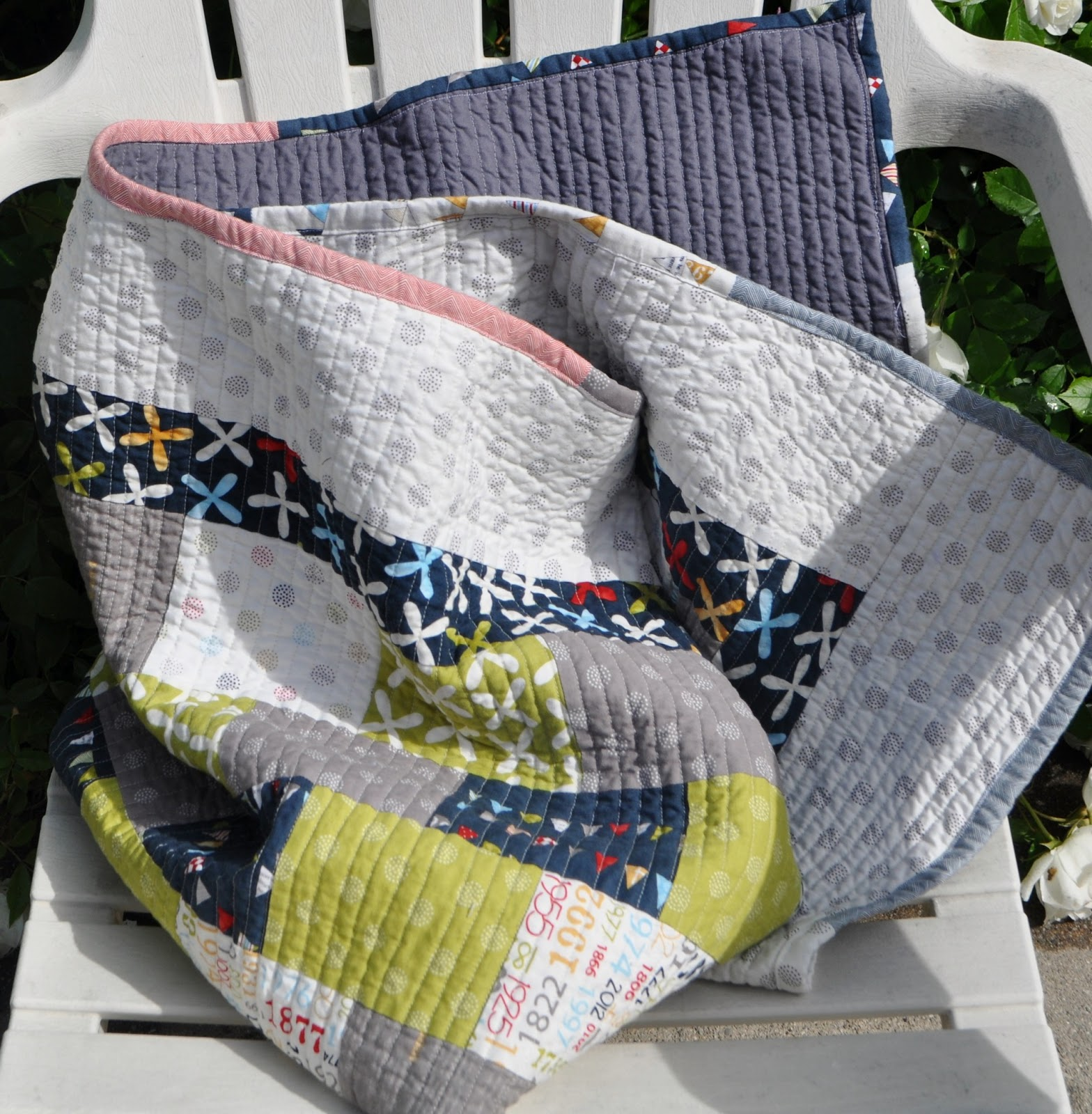 Patchwork Quilt For A Boy: Richard And Tanya Quilts: Modern Baby Boy Patchwork Quilt