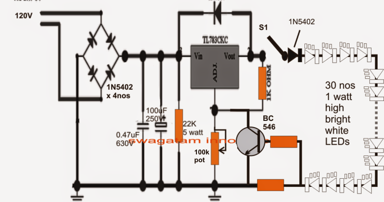 110V Compact LED Tubelight Circuit | Circuit Diagram Centre